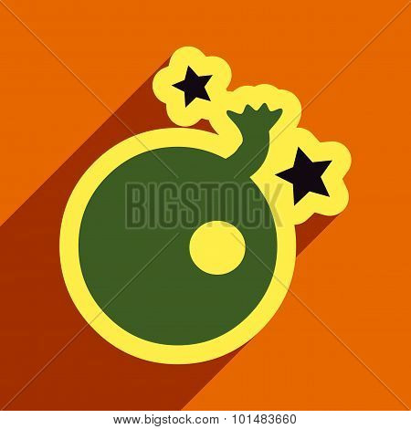 Flat with shadow Icon Bomb and stars on colored background