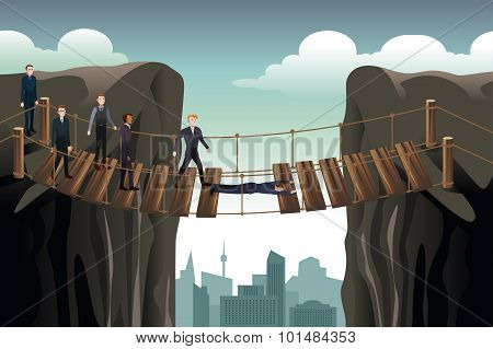 Businessman Helping His Colleagues Crossing  The Bridge For Teamwork