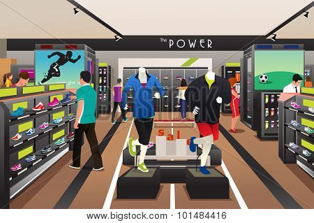 People Shopping For Shoes In A Sporting Store