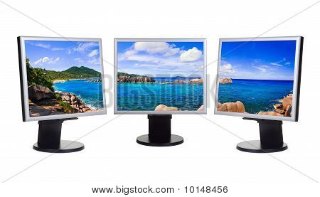 Panorama Of Coast On Computer Screens