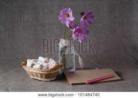 Colorful Marshmallow On Canvas Background
