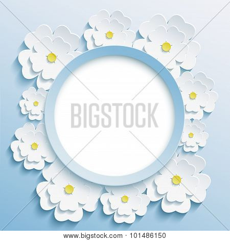 Round Blue Frame With 3D White Sakura