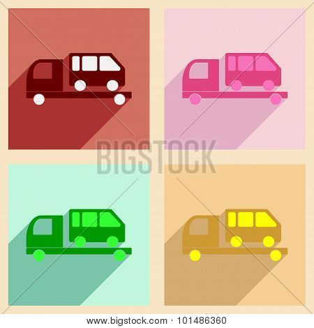 Flat with shadow concept and mobile application tow truck car