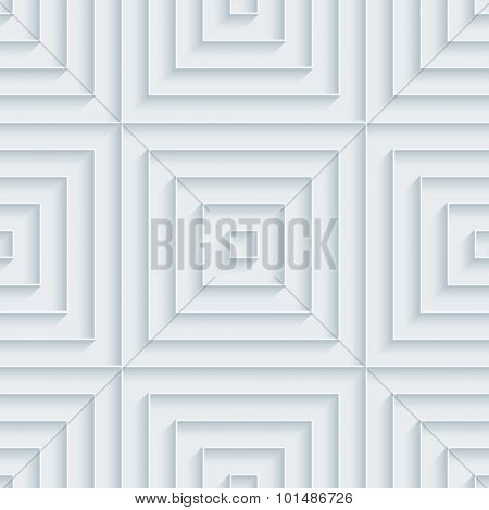 Squares. White paper with outline extrude effect. Abstract 3d seamless background.