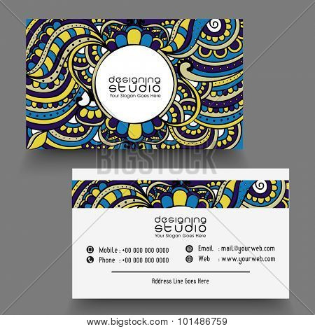 Traditional floral design decorated, horizontal business card, name card or visiting card set in multiple colors.