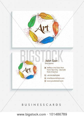 Creative horizontal business card or visiting card set with colorful feathers in horizontal shape.