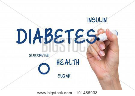 Hand Writing Diabetes Content With Blue Marker