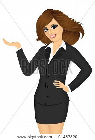 friendly business woman showing something