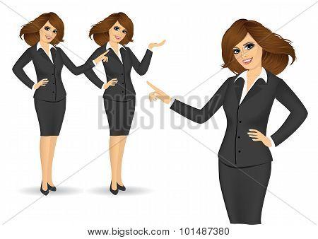 business women showing something