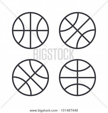 Basketball ball outline icons, modern minimal flat design style. Vector illustration, icon set