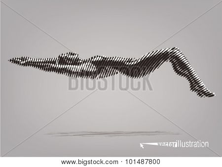Female swimmer on the competition. Vector artwork in the style of ink drawing
