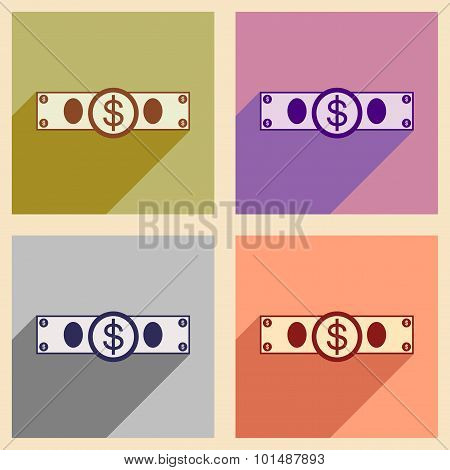 Flat with shadow icon concept Stylish dollar bill