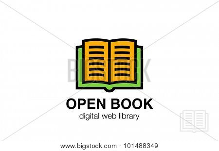 Open Book Logo abstract design vector template. Friendly icon. Education Dictionary Library Logotype concept.