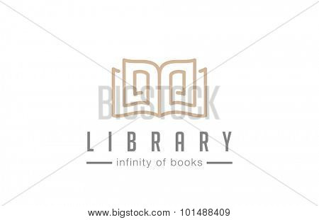 Open Book Logo abstract design vector template lineart style Education Library Magazine Logotype Luxury elegant concept.