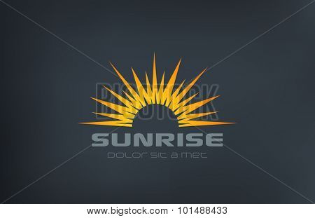Sun Logo Vintage square shape design vector template. Sunrise with rays Logotype abstract sunset concept icon.