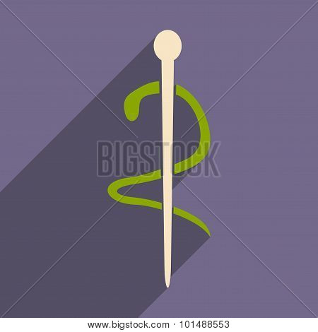 Flat with shadow icon and mobile application medical snake