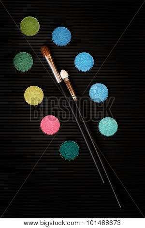 Still Life With Eye Shadows And Make-up Brushes