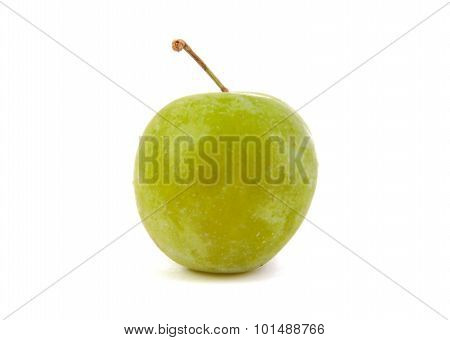 Close up of single green plum isolated on a white background