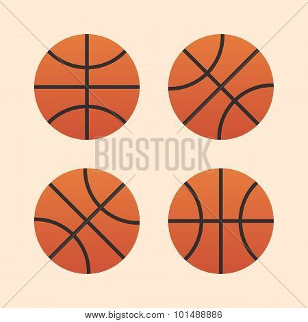 Basketball ball icons, modern minimal flat design style. Vector illustration, icon set