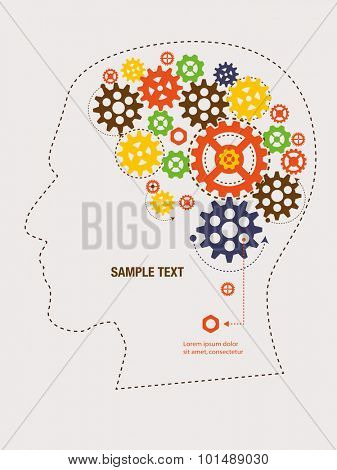 Gears and cogs inside head, Vector illustration.