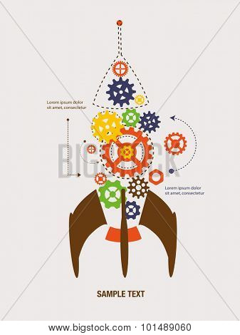 Cogs and gears inside the rocket. Business growth concept.