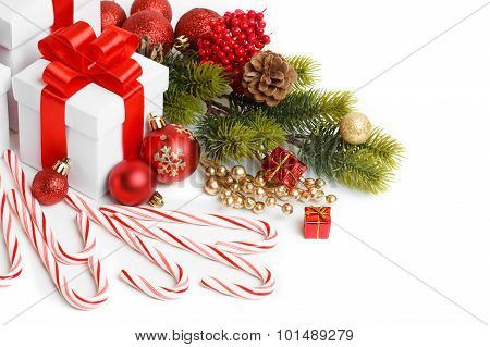Gift with christmas tree and candy