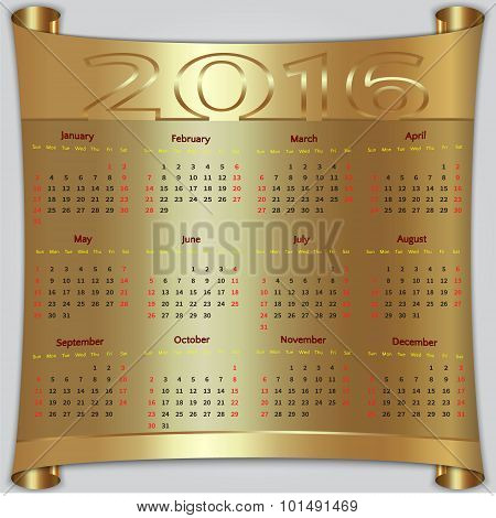 Vector calendar for 2016 year, gold metallic scroll