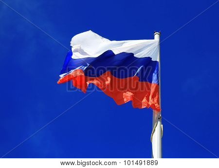 Flag On The Sky Background