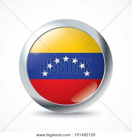Venezuela flag button - vector illustration
