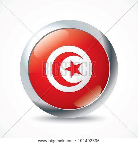 Tunisia flag button - vector illustration