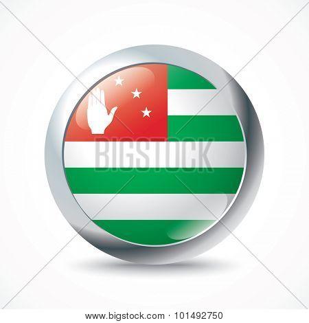 Abkhazia flag button - vector illustration
