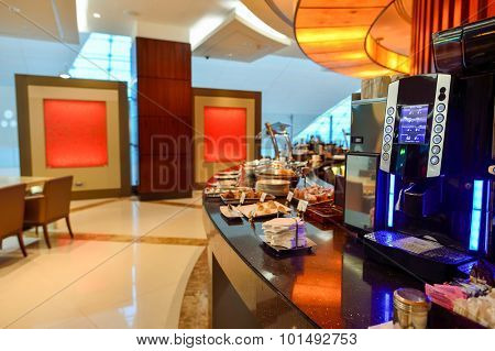 DUBAI - JUNE 23, 2015: Emirates business class lounge interior. Emirates is an airline based in Dubai, United Arab Emirates.