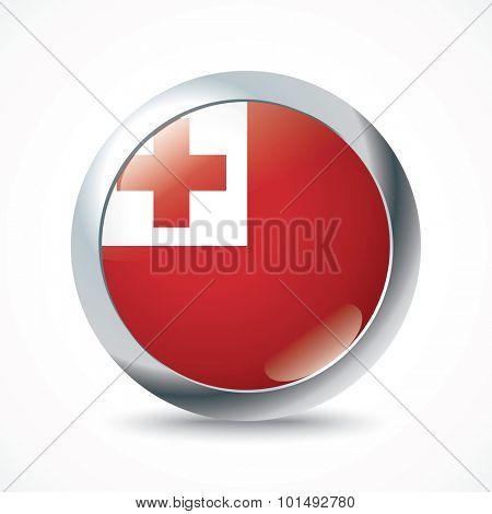 Tonga flag button - vector illustration