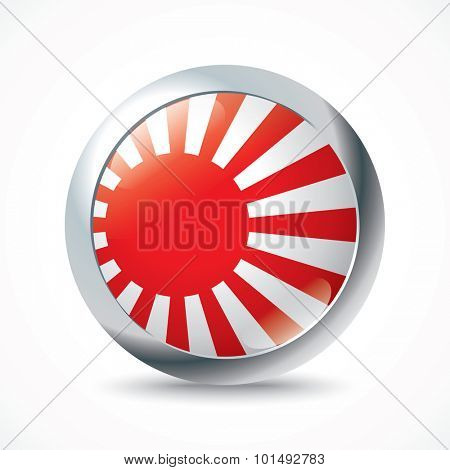 Japanese Naval Ensign flag button - vector illustration
