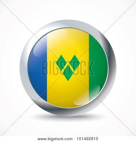 Saint Vincent and Grenadines flag button - vector illustration