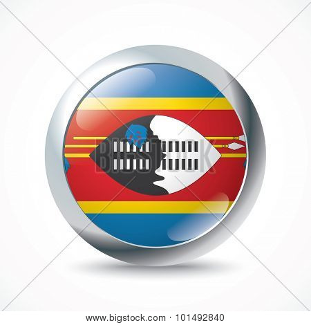 Swaziland flag button - vector illustration