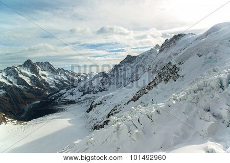 Panorama Scenic of Great Aletsch Glacier Jungfrau region