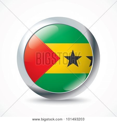 Sao Tome and Principe flag button - vector illustration