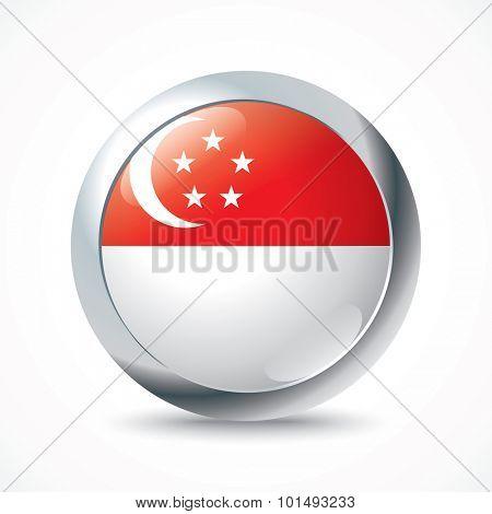 Singapore flag button - vector illustration