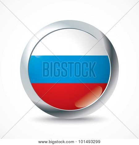 Russia flag button - vector illustration