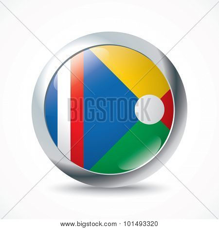 Reunion flag button - vector illustration