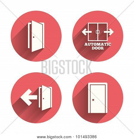 Doors signs. Emergency exit with arrow symbol.