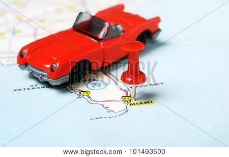 Miami  Usa Map Red Car