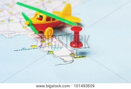 Miami  Usa Map Flight