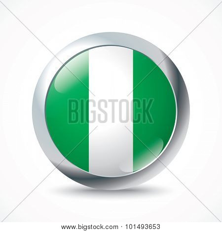 Nigeria flag button - vector illustration