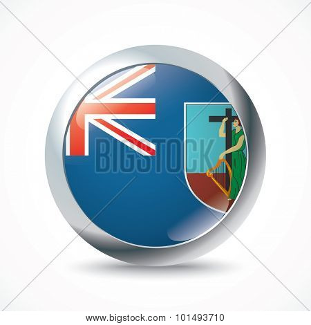 Montserrat flag button - vector illustration