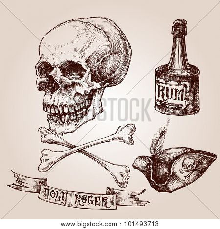 Pirate set, skull and crossbones, pirate hat and a bottle of rum