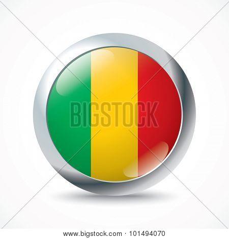 Mali flag button - vector illustration