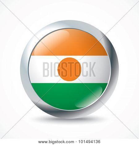 Niger flag button - vector illustration