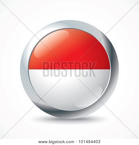 Monaco flag button - vector illustration